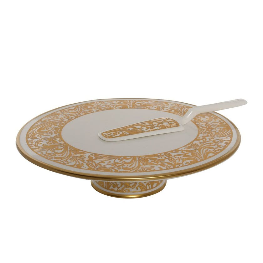 Jarrah Cake Stand with Knife, White & Gold
