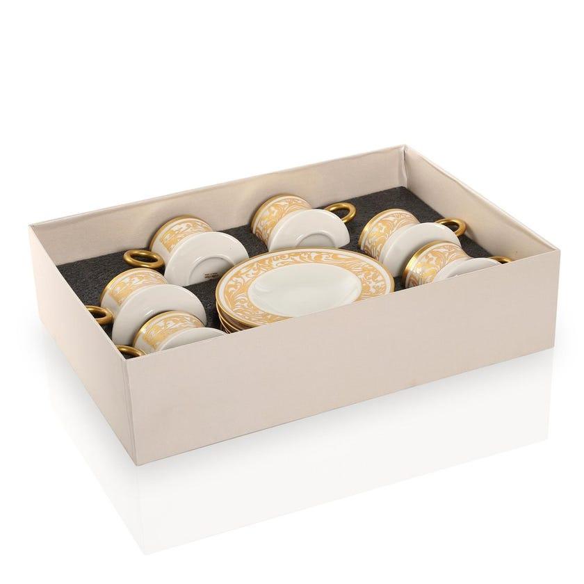 Jarrah Porcelain Cups & Saucers, White & Gold - Set of 6