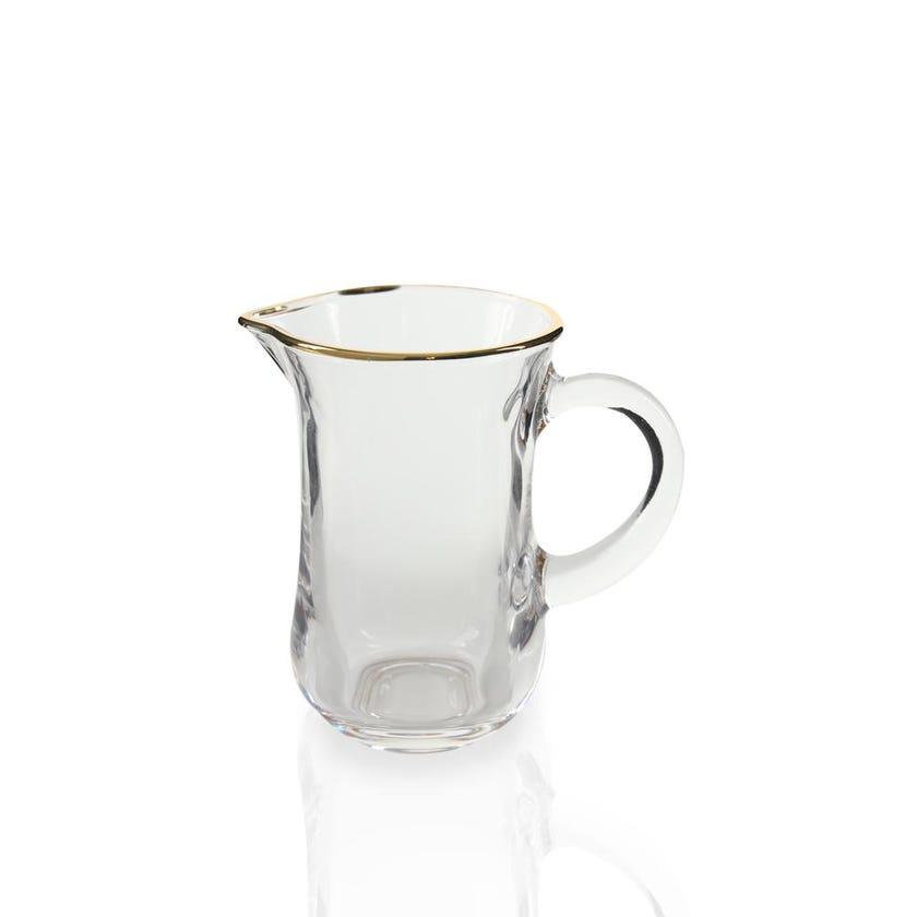 Crystal Glass Decanter Set - 6 Pieces, Transparent/Gold Line, 140 ml