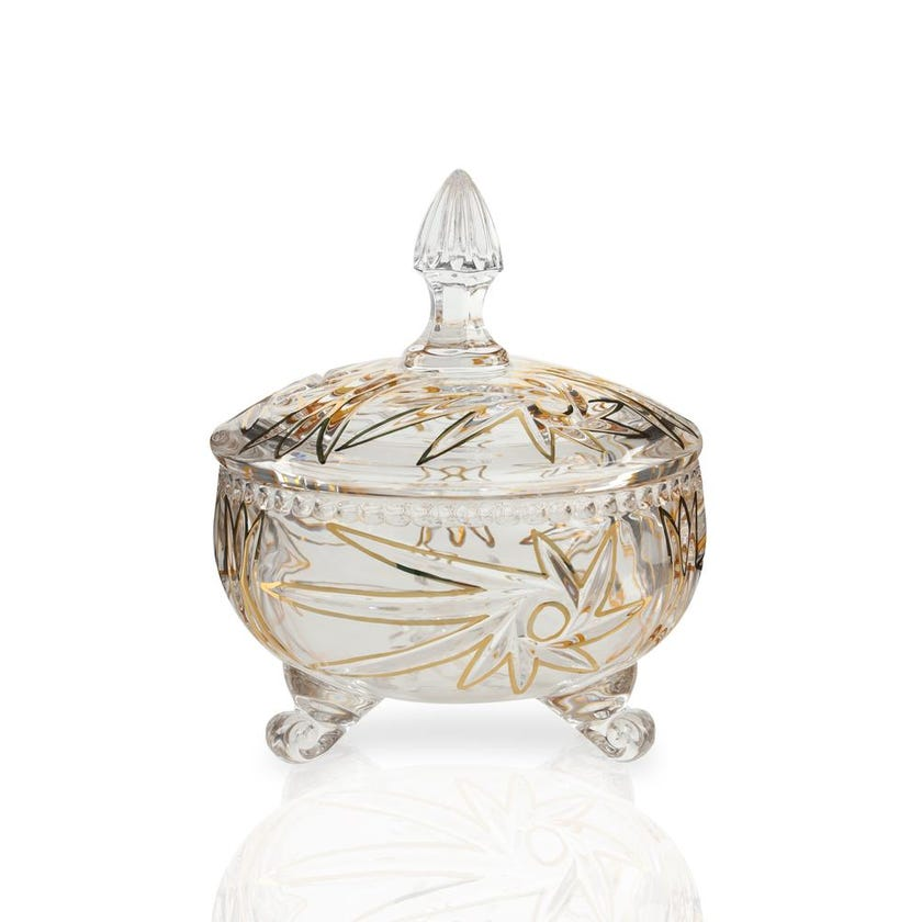 Windmill Glass Footed Candy Bowl with Lid - Golden Line, 17.3 cms