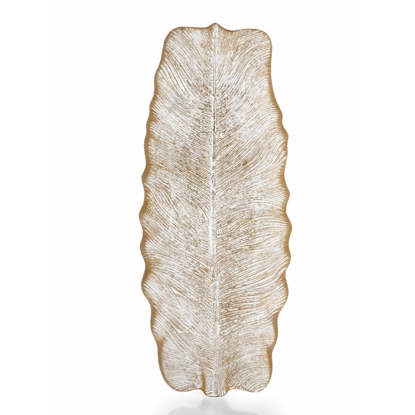 Quill Feather Glass Plate - Brushed Gold, 40 x 15.5 cms