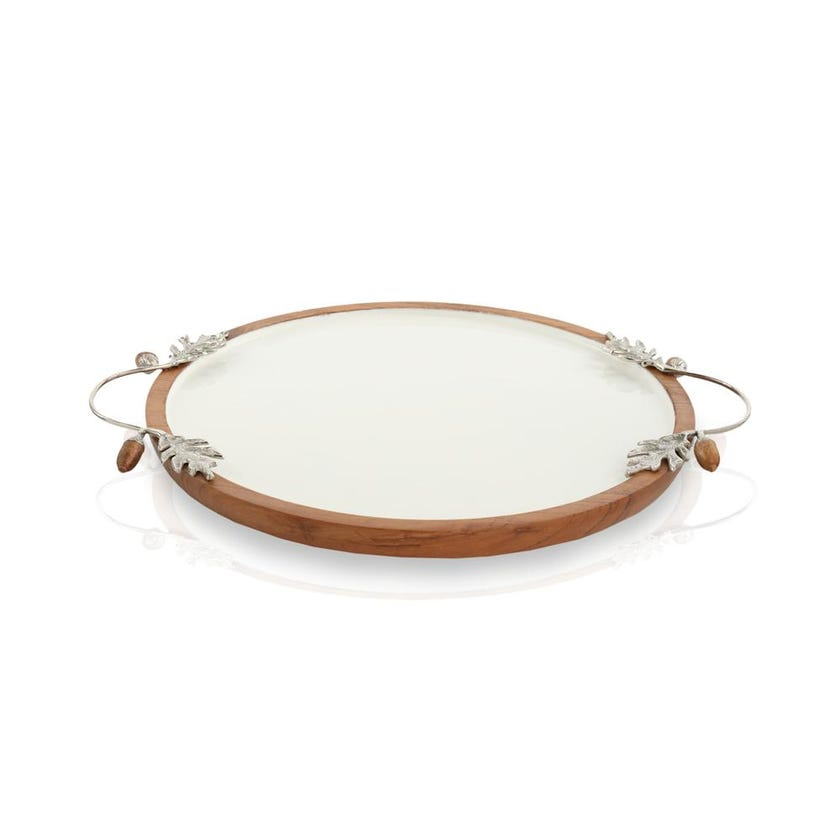 Enamel Acorn Round Tray