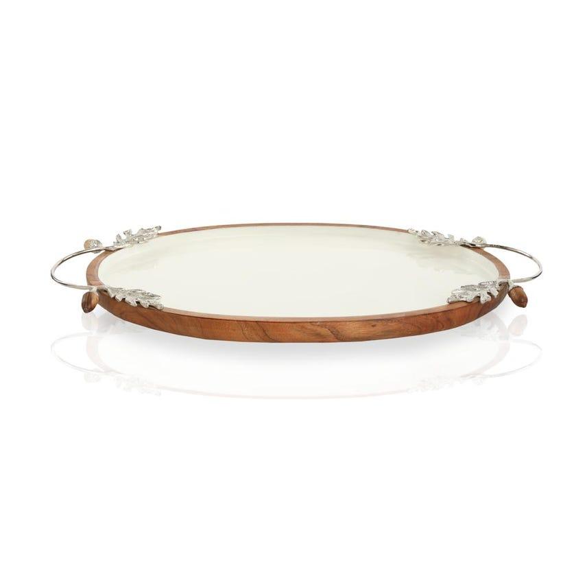 Enamel Acorn Oval Tray
