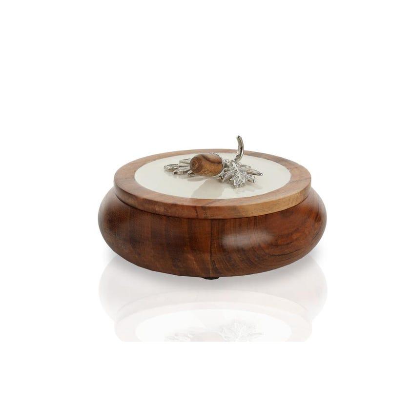 Enamel Acorn Round Box, Small