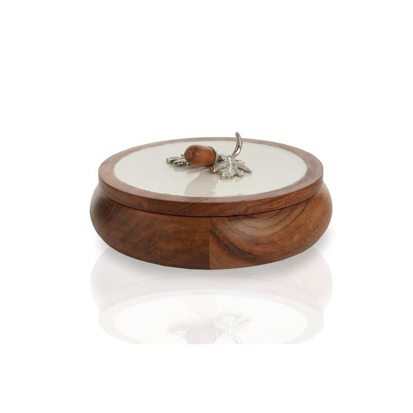 Enamel Acorn Round Box, Large