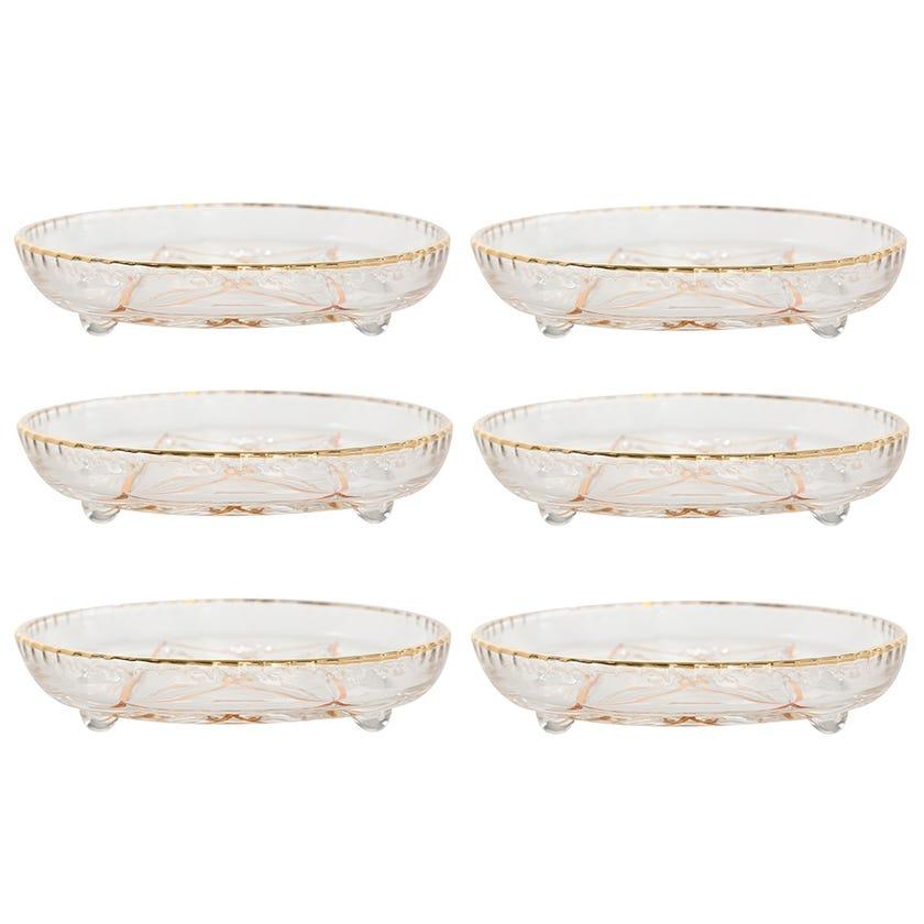 Leaf Design Glass Flat Plate - Golden Line (Set of 6)