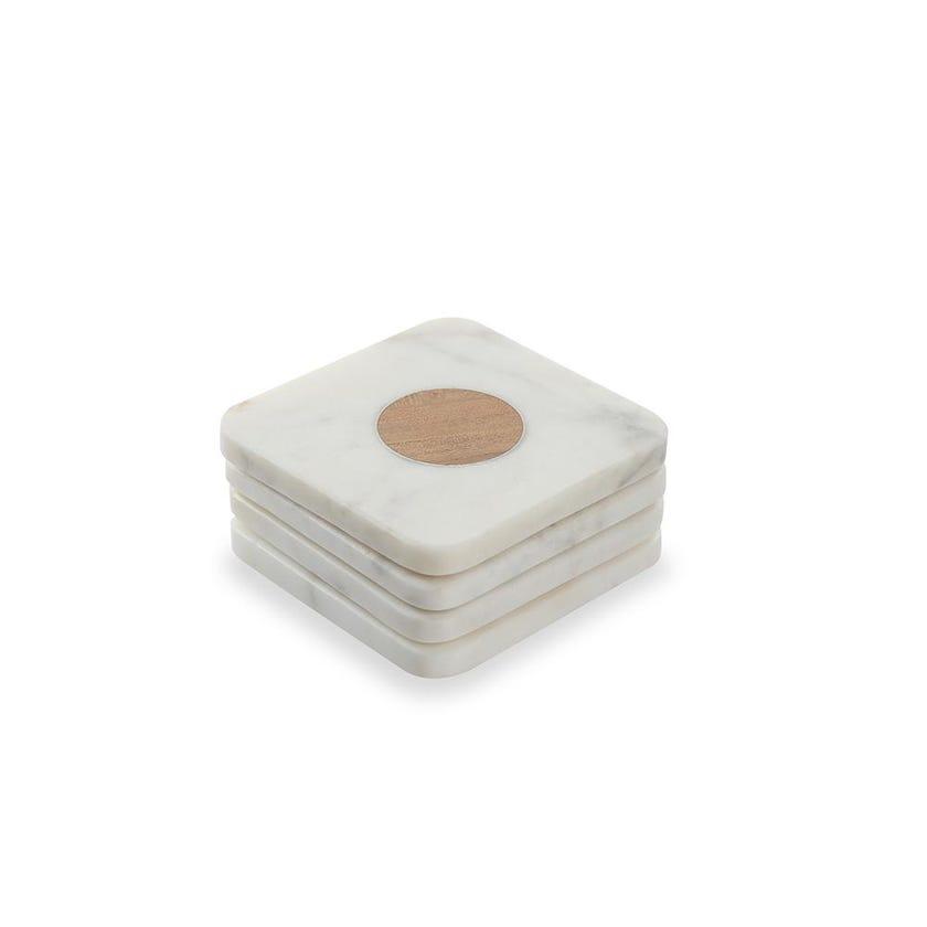 Marble and Circle Wood Coaster