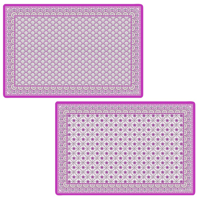 Double-Sided Table Mat, Monsoon Pink - 45x30 cms