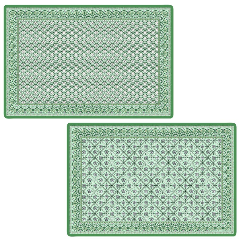 Double-Sided Table Mat, Monsoon Green - 45x30 cms