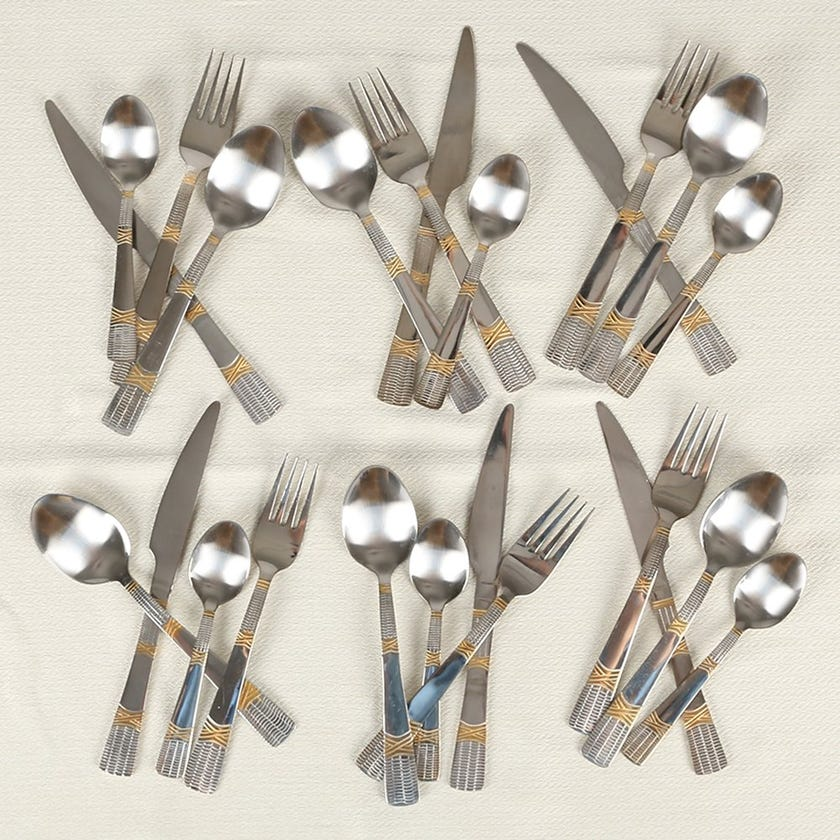 Gold Plated 24-Piece Cutlery Set