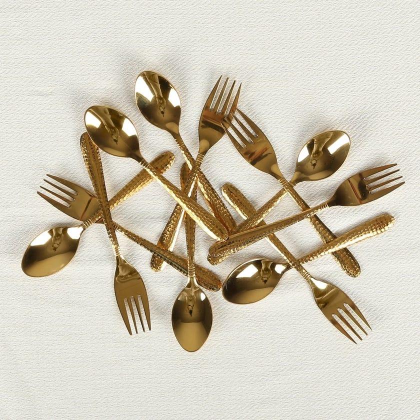 Starter Gold 12-Piece Cake Fork and Teaspoon Set