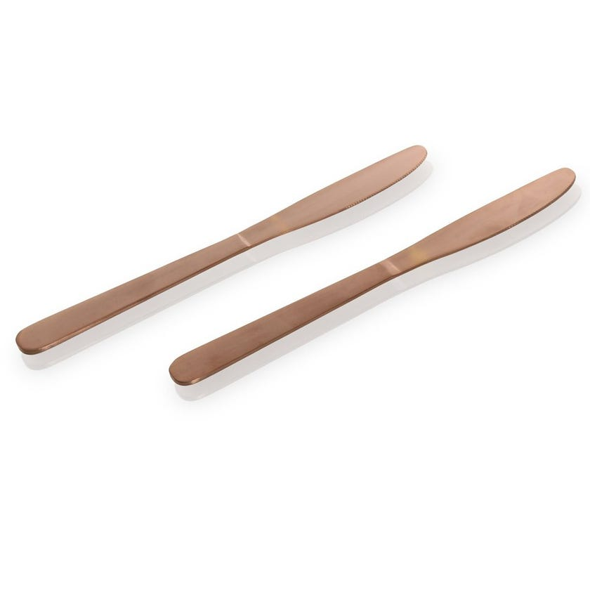 Manille Stainless Steel Table Knife, Copper - Set of 2