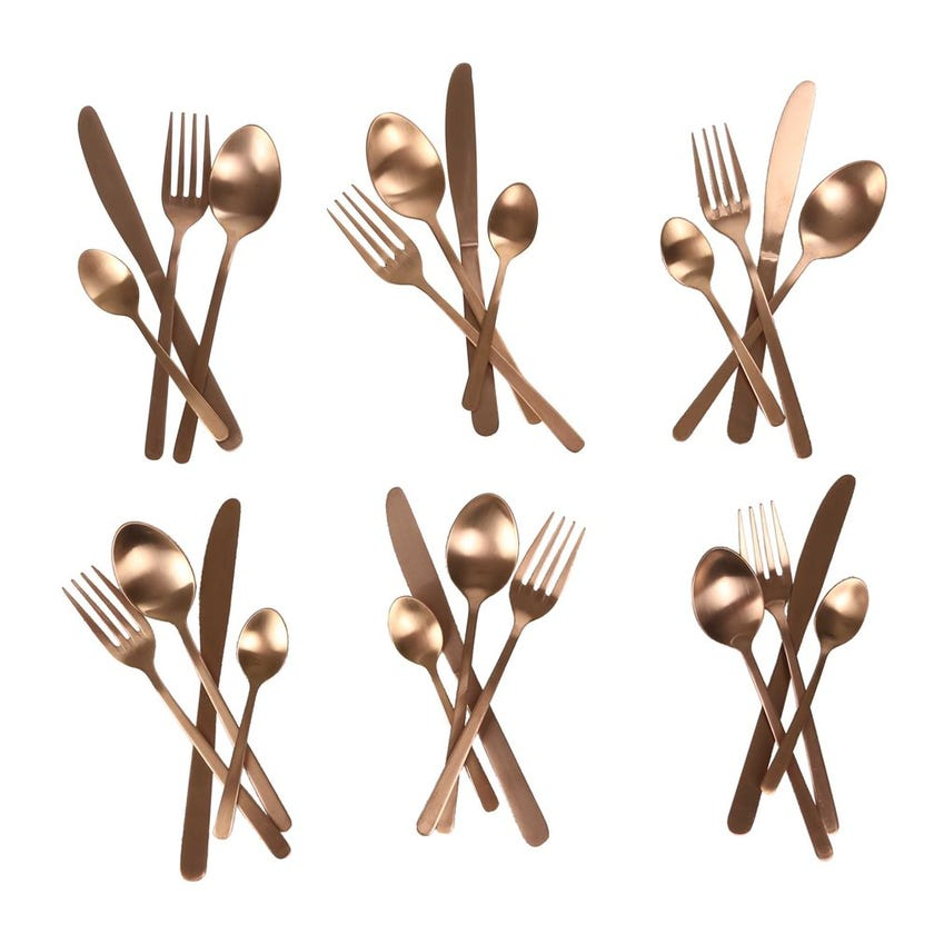 Manille 24-Piece Stainless Steel Cutlery Set, Copper