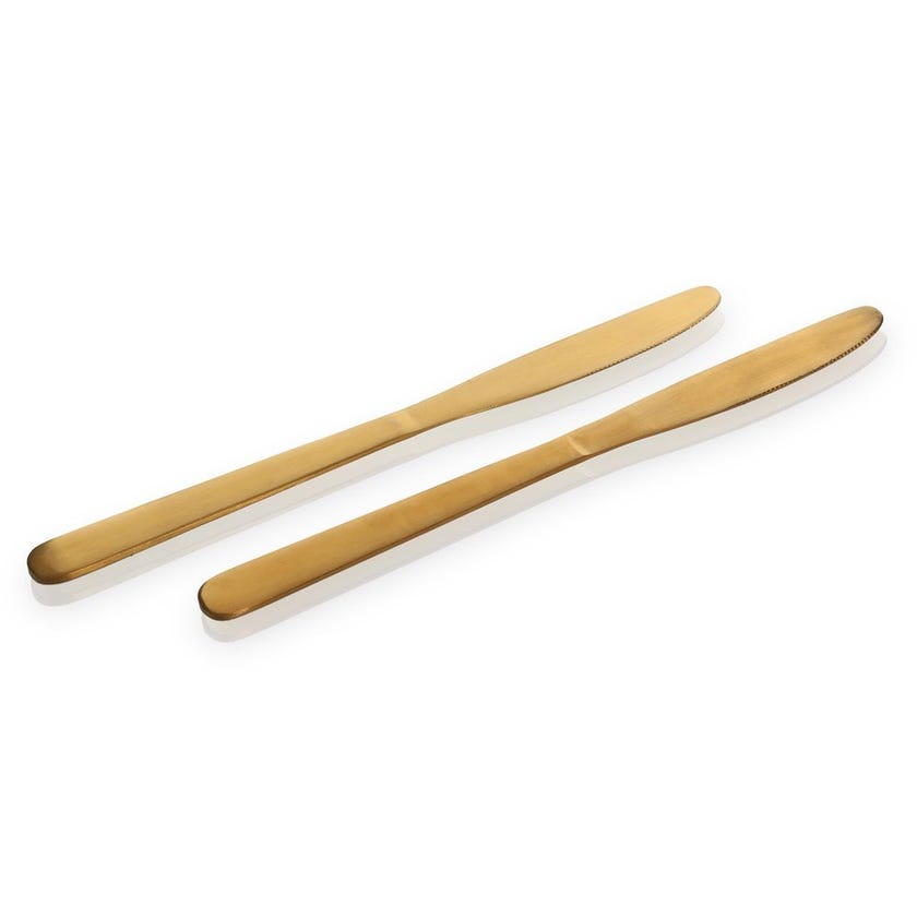Kevin Stainless Steel Table Knife, Gold - Set of 2