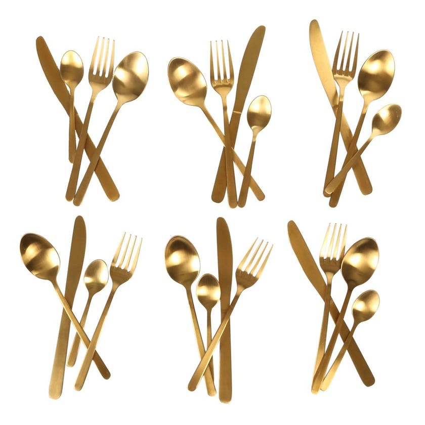 Kevin 24-Piece Stainless Steel Cutlery Set, Gold