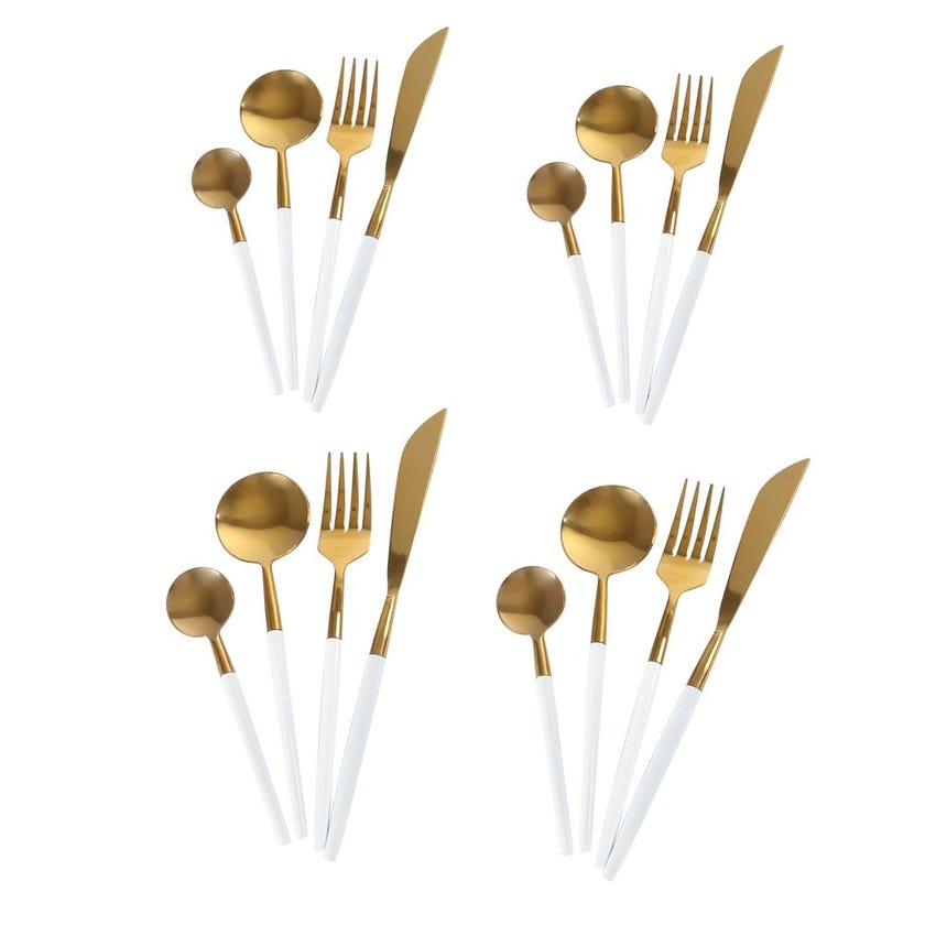 Royal 16-Piece Cutlery Set, Gold & White