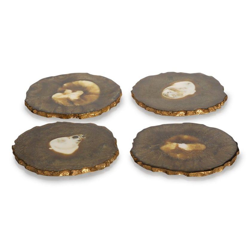 Ayla Resin Coaster, Brown & Gold - Set of 4