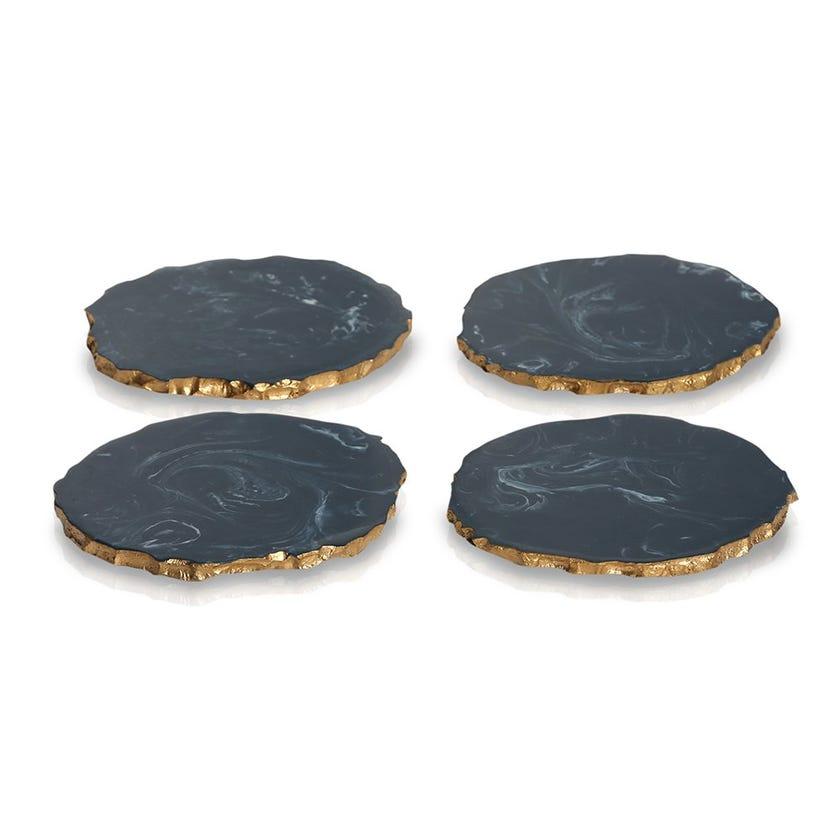 Ayla Resin Coaster, Teal Blue - Set of 4