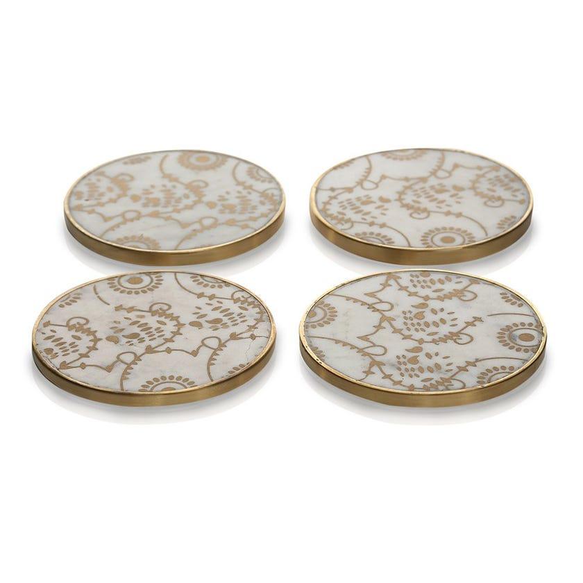 Amari Marble Coaster, Golden & Cream - Set of 4