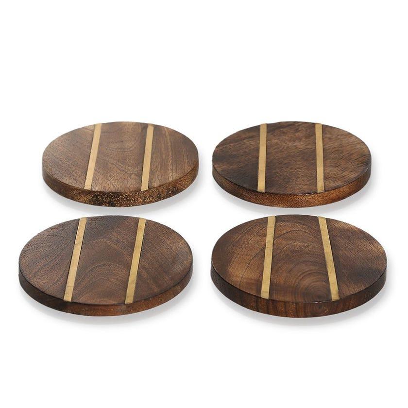 Erin Round Coaster, Wood & Gold - Set of 4