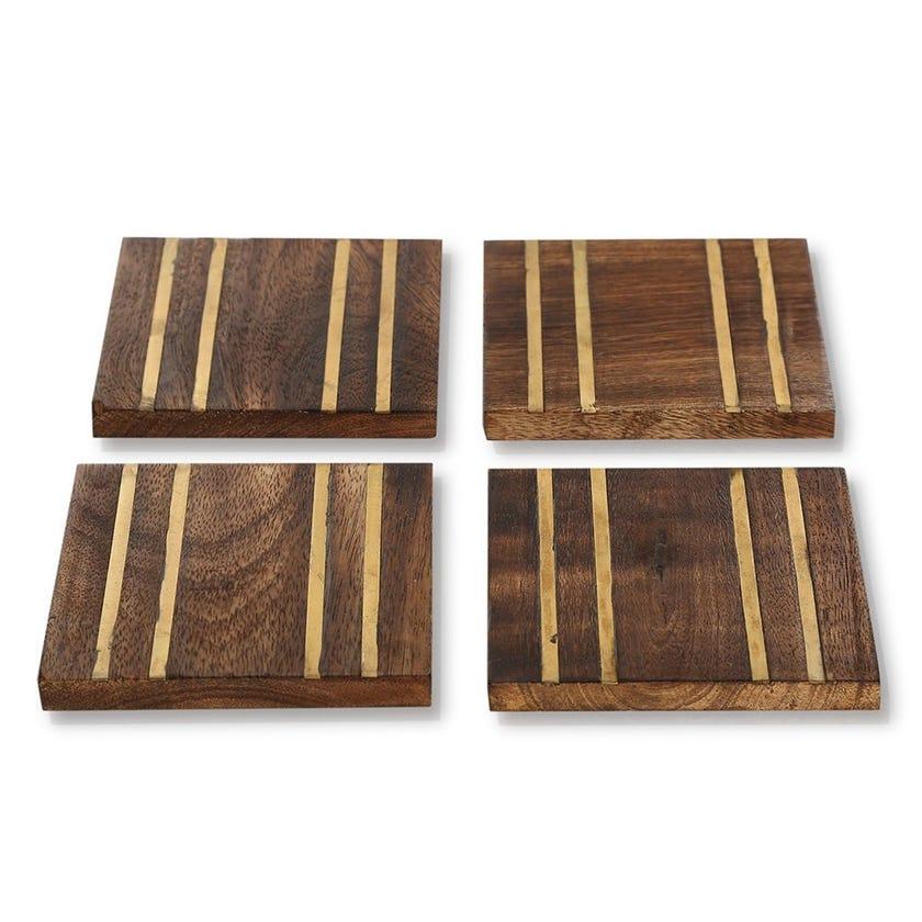 Erin Coaster, Wood & Gold - Set of 4