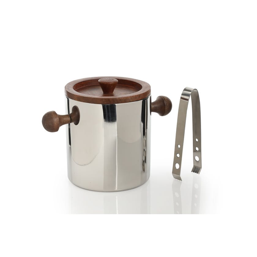 Ice Bucket - Plain Steel with Wood