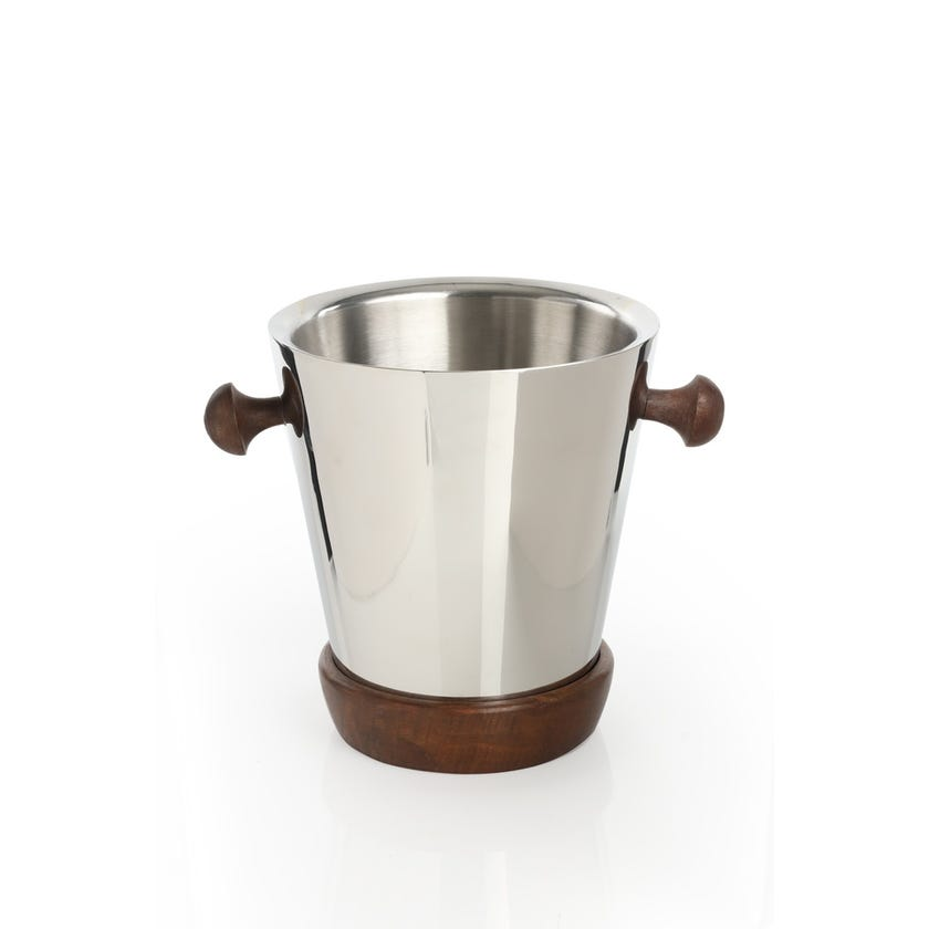 Champagne Bucket - Plain Steel with Wood