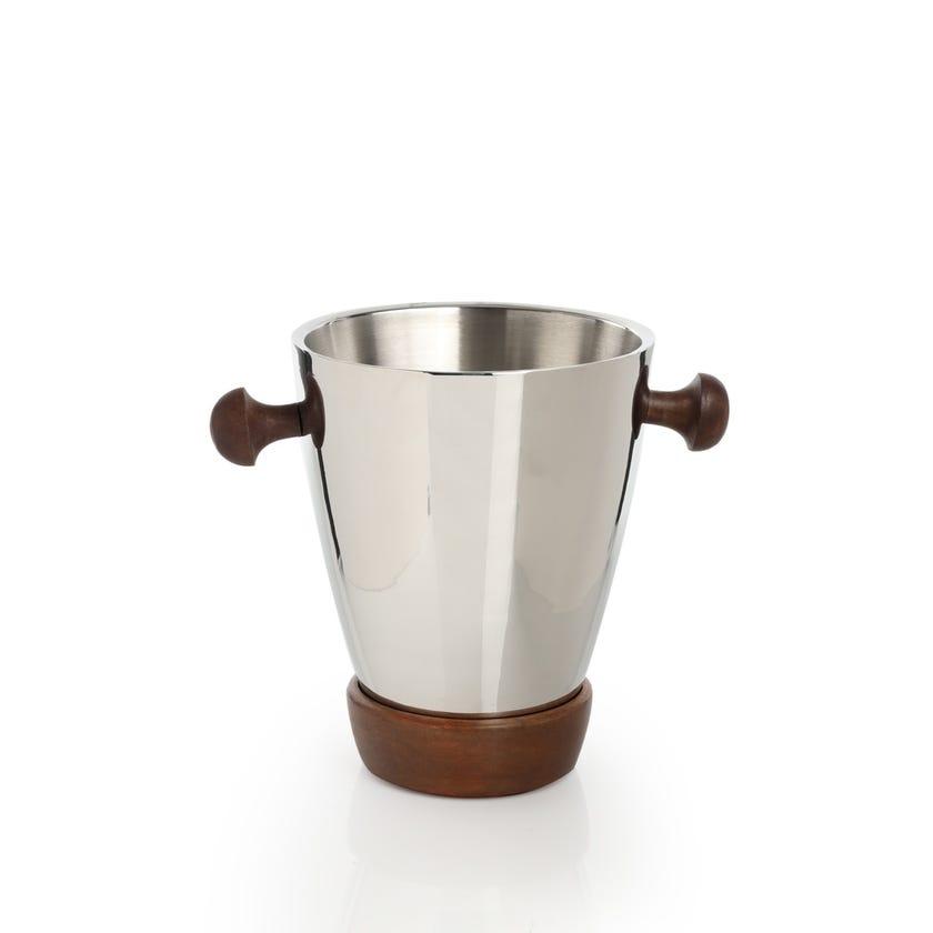 Wine Bucket - Plain Steel with Wood