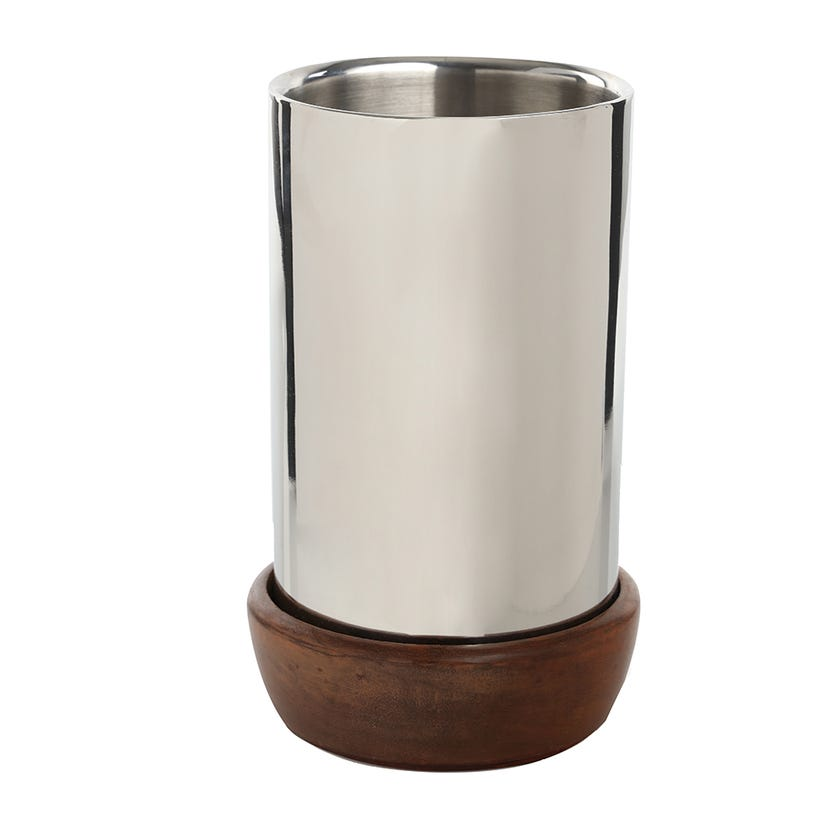 Wine Cooler - Plain Steel with Wood