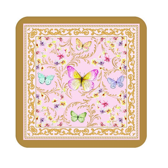 Majestic Butterflies Cork Coasters, Multicolour - Set of 6, 10.5x10.5 cms