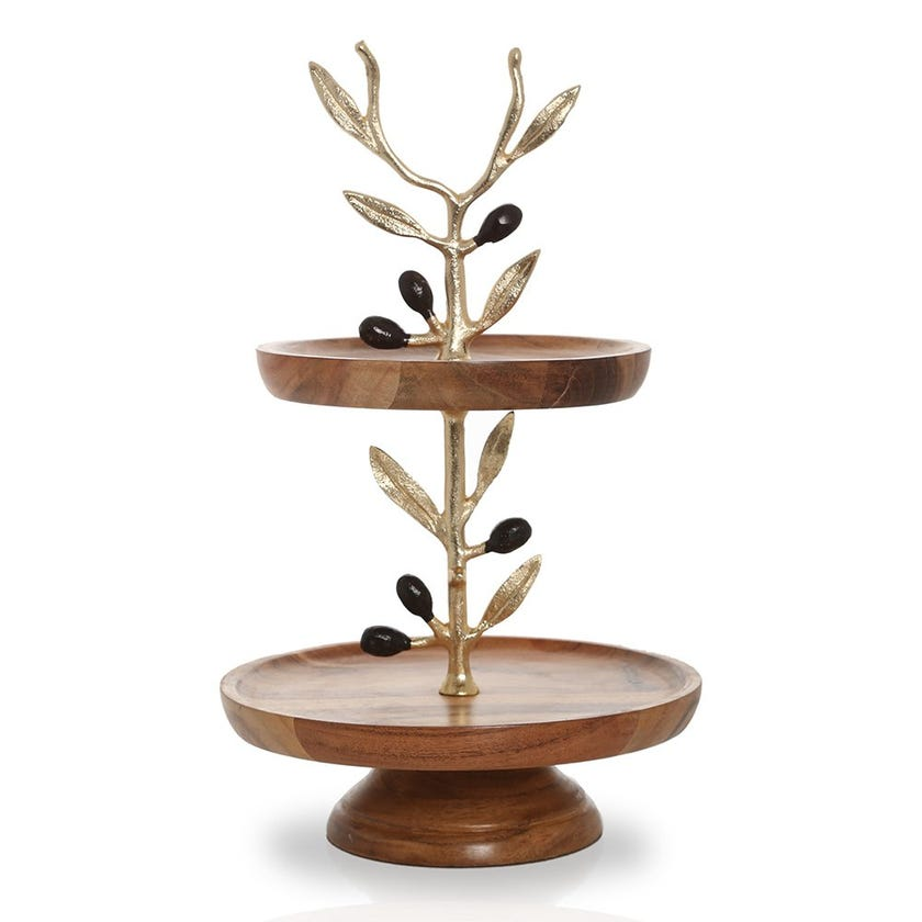Campbell Wooden 2-Tier Cake Stand