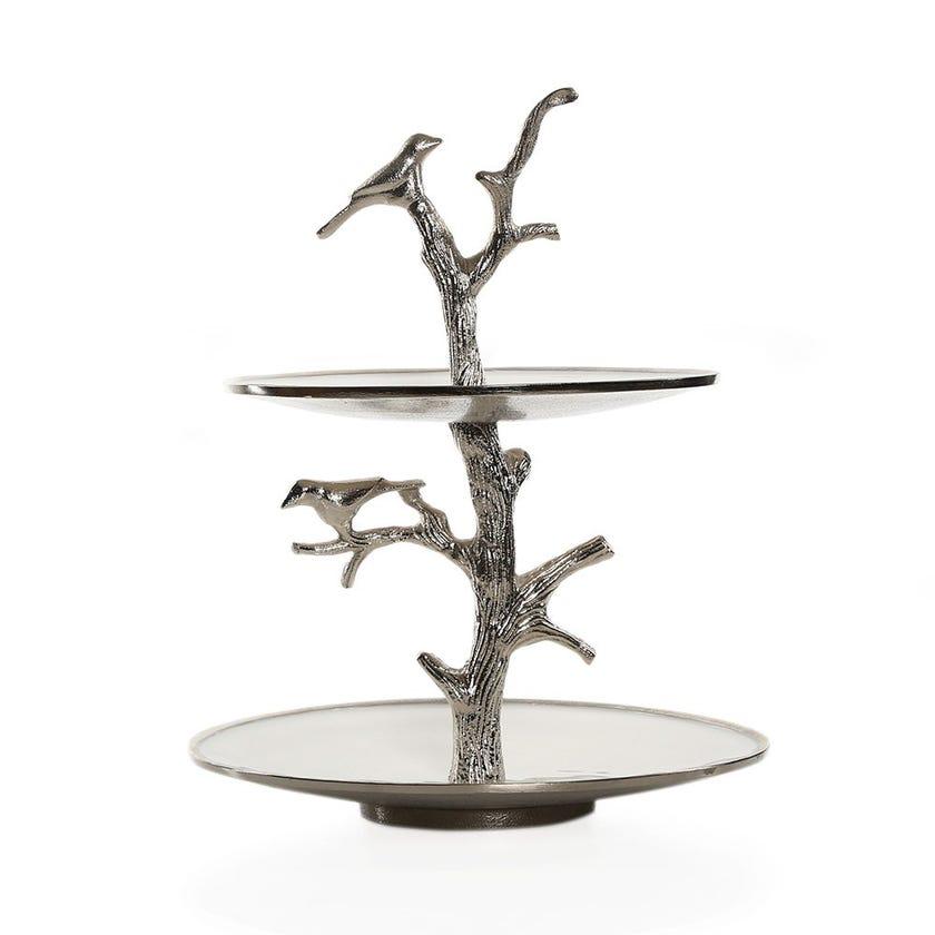 Casa White Enamel Cake Stand, Silver – 29x36.5 cms