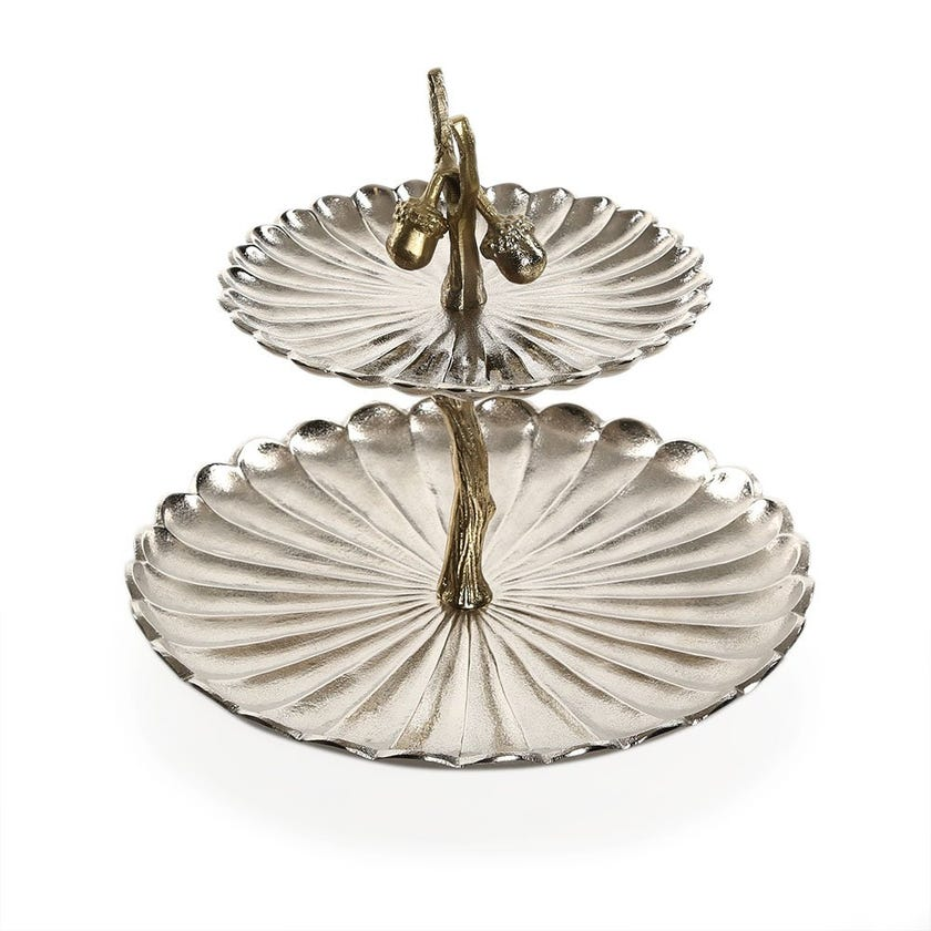 Acacia Cake Stand with Nuts Stalk, Nickel & Gold – 32x33.5 cms