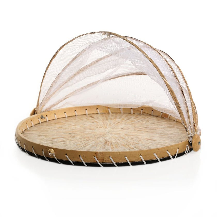 Amelia Tray with Cover, Natural & Yellow - 40x24 cms