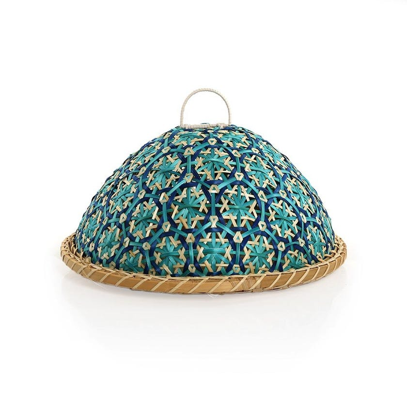 Camden Tray with Cover, Natural & Blue - Small