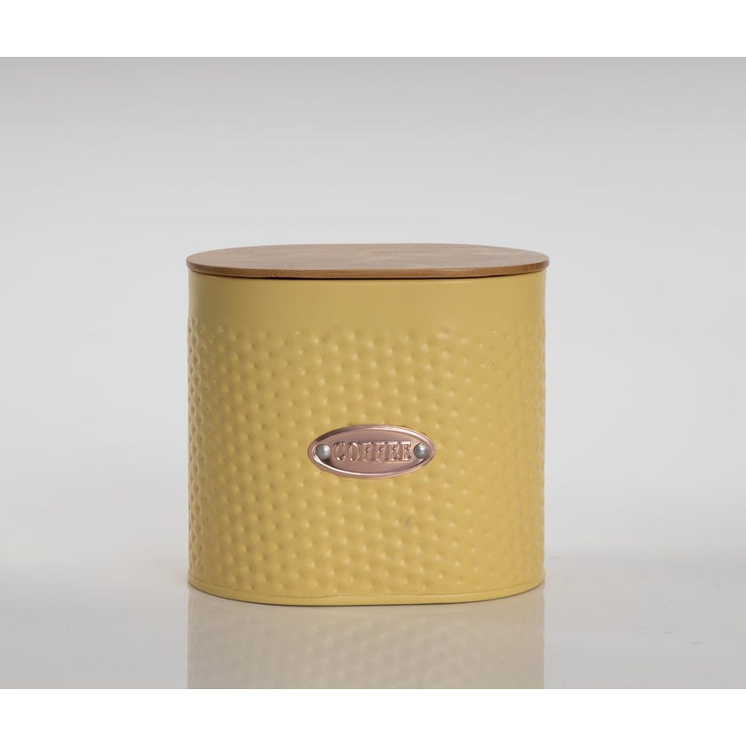 Oval Coffee Canister with Lid, Matte Yellow