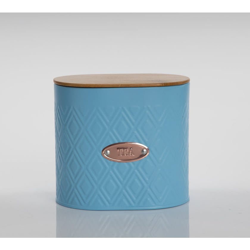 Oval Tea Canister with Lid, Matte Blue