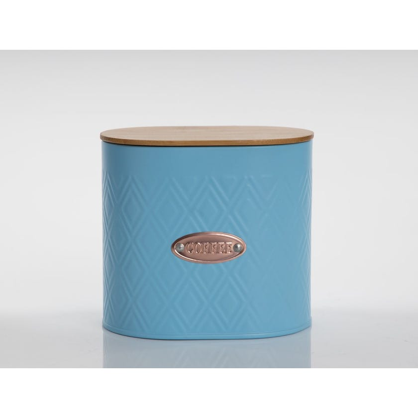 Oval Coffee Canister with Lid, Matte Blue