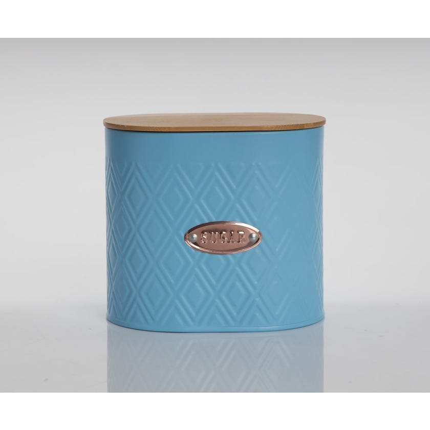 Oval Sugar Canister with Lid, Matte Blue