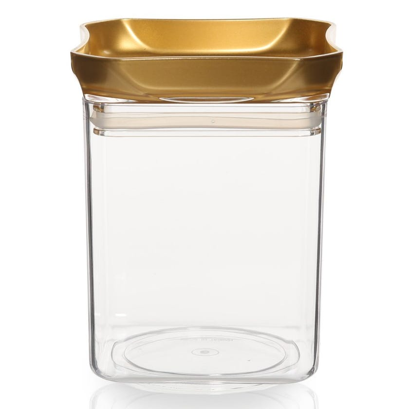 Square Jar, Clear & Gold – Medium