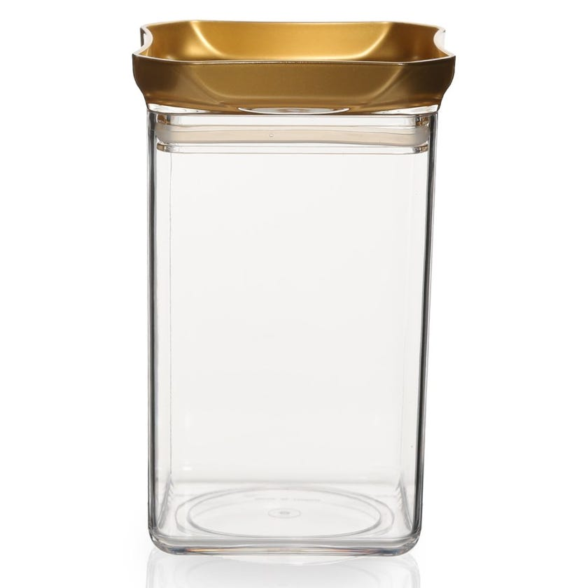Square Jar, Clear & Gold – Large