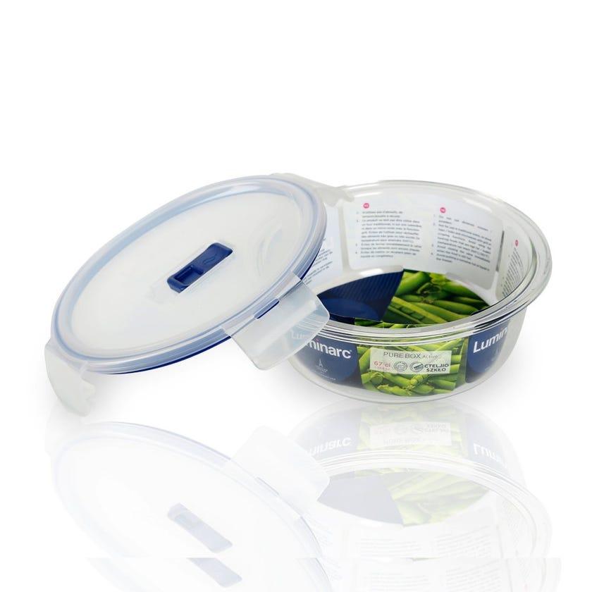Tempered Round Flat Rim Purebox Container - 67 CL