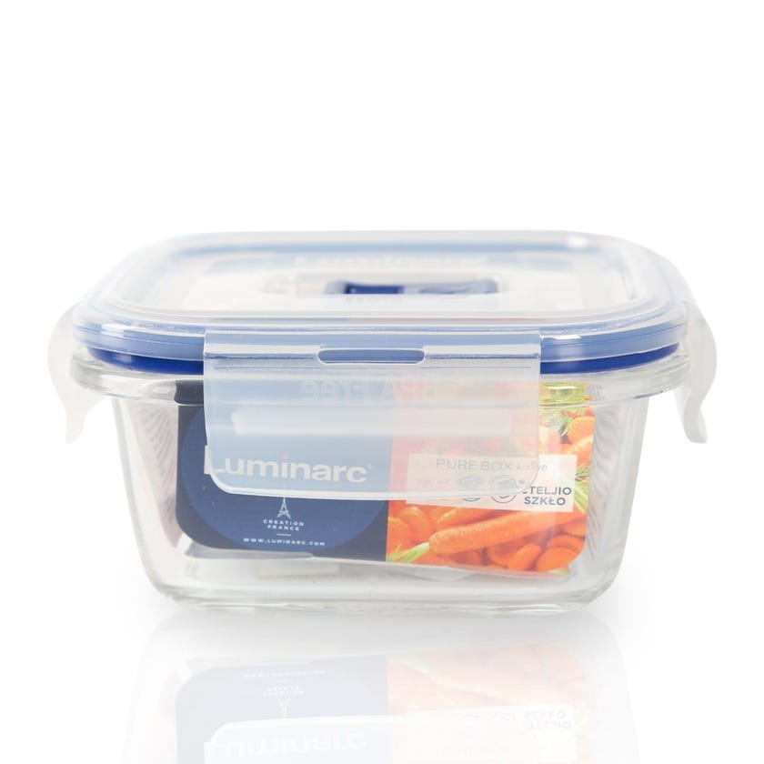 Tempered Square Flat Rim Purebox Containers - 38 CL