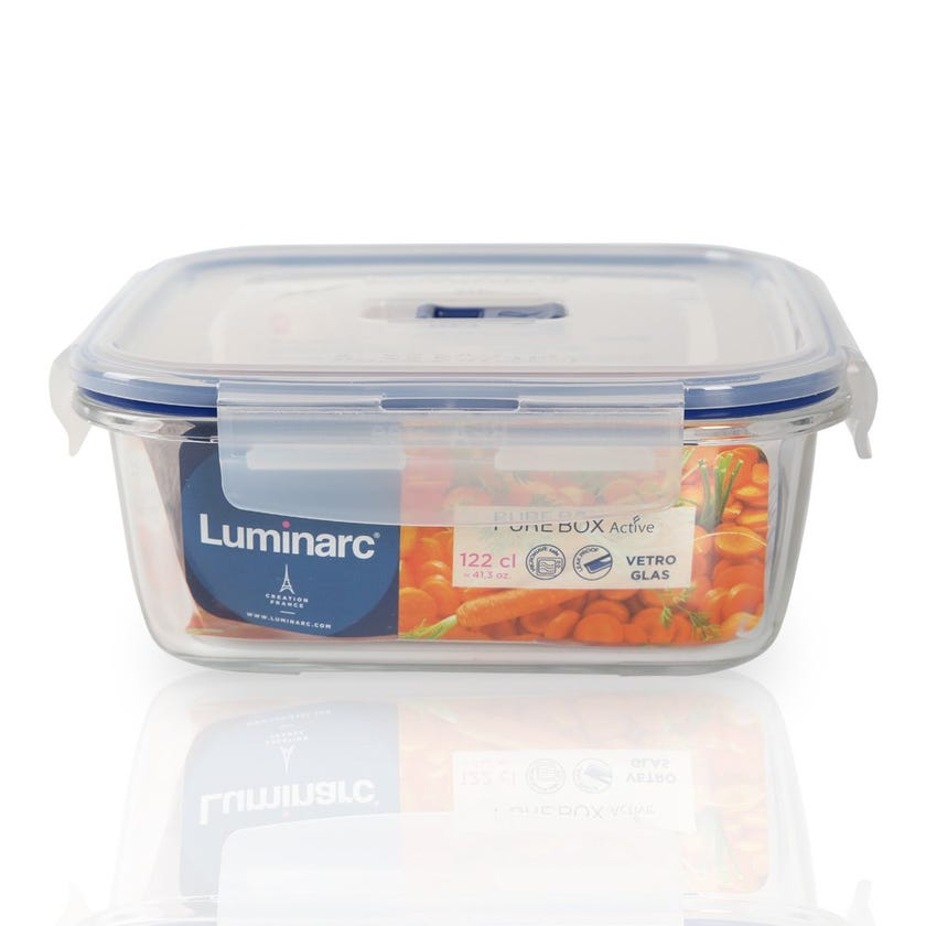 Tempered Square Flat Rim Purebox Containers - 122 CL