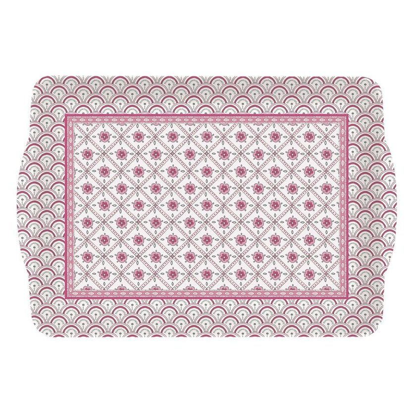 Mopi Plastic Tray with Handles, Pink - 33 x 22