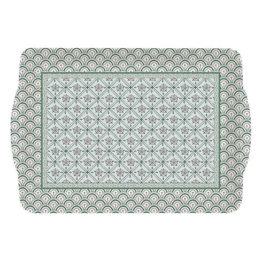 Mogr Plastic Tray with Handles, Green - 33 x 22