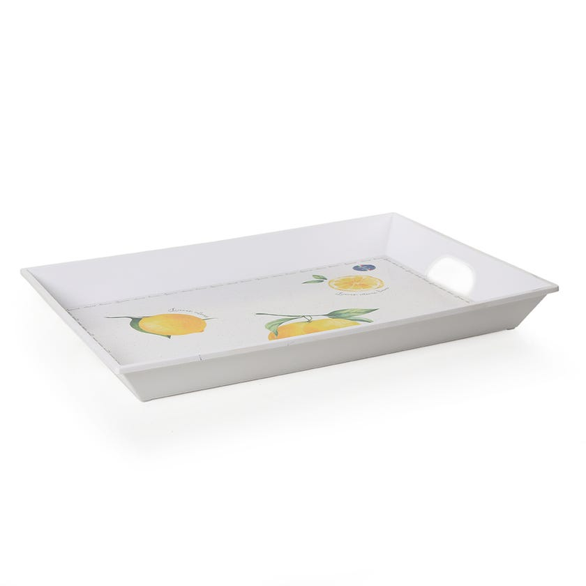 Amalfi Tray with Handle, White & Yellow – 51x38 cms