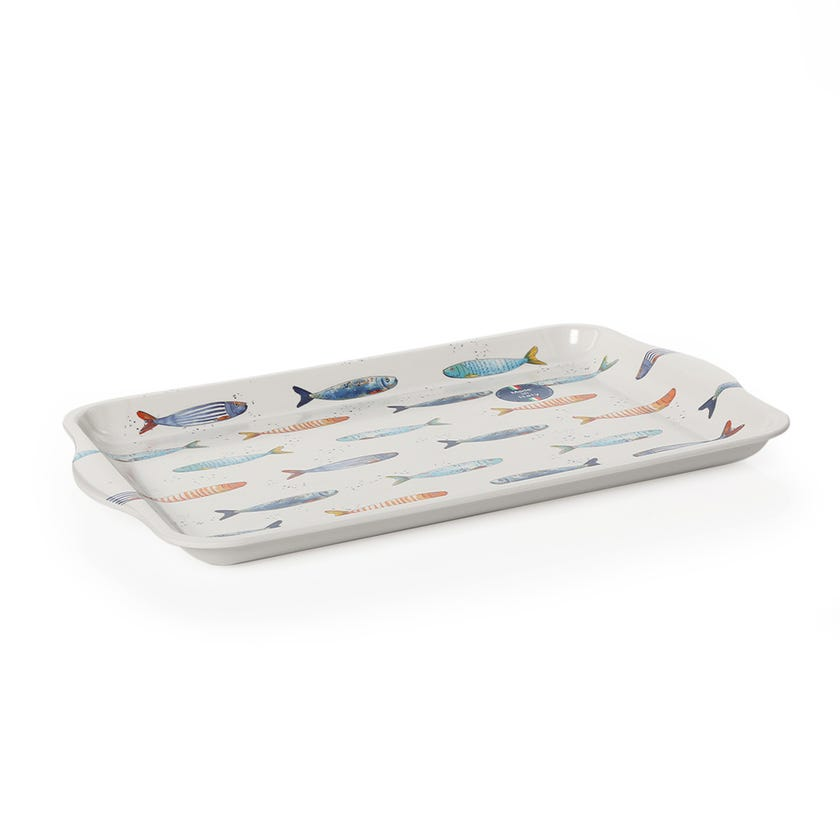 Bord De Mer Tray with Handle, White & Blue – 33x22 cms