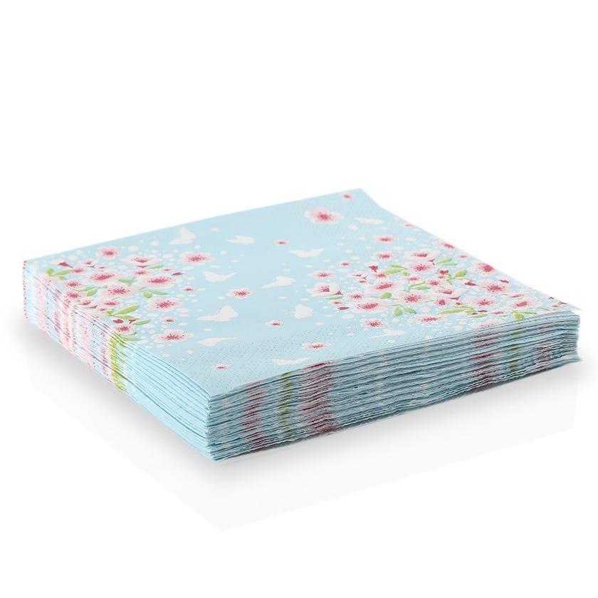 Cherry Spring Paper Napkin - White, 33 x 33 cms