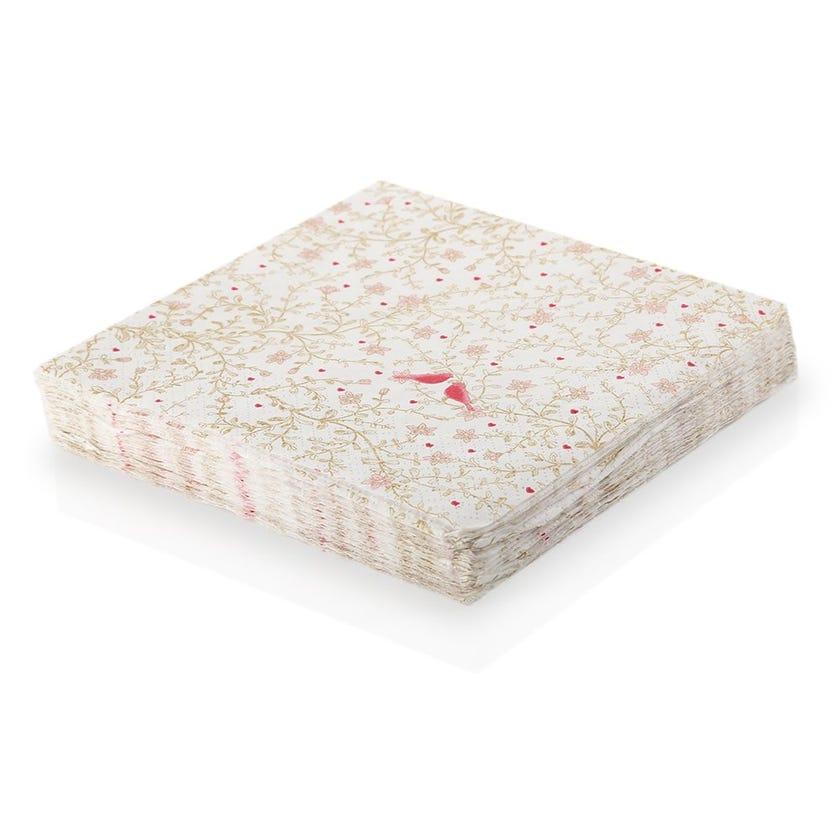 Romantic Paper Napkin - White, 33 x 33 cms